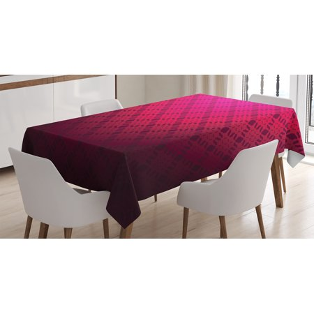 Magenta Decor Tablecloth, Damask Textured Embellished Geometric Figures Romantic Style Vintage Art Print, Rectangular Table Cover for Dining Room Kitchen, 60 X 84 Inches, Rosewood, by Ambesonne