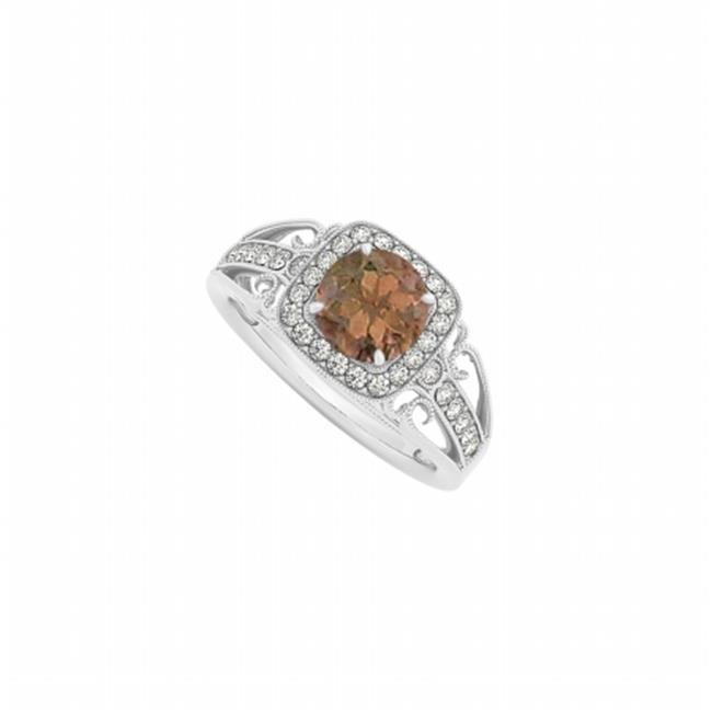 Fine Jewelry Vault UBNR84682AGCZSQ Smoky Quartz & CZ Halo Ring in 925 Sterling Silver, 30 Stones