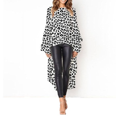 Women Fashion Autumn Ruffles Irregular Hem Long Blouses Leopard Solid Lantern Puff Sleeve Baggy Chiffon Tops
