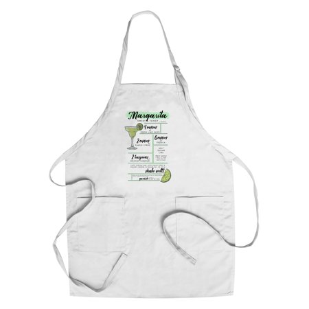 Margarita - Cocktail Recipe - Lantern Press Artwork (Cotton/Polyester Chef's Apron)