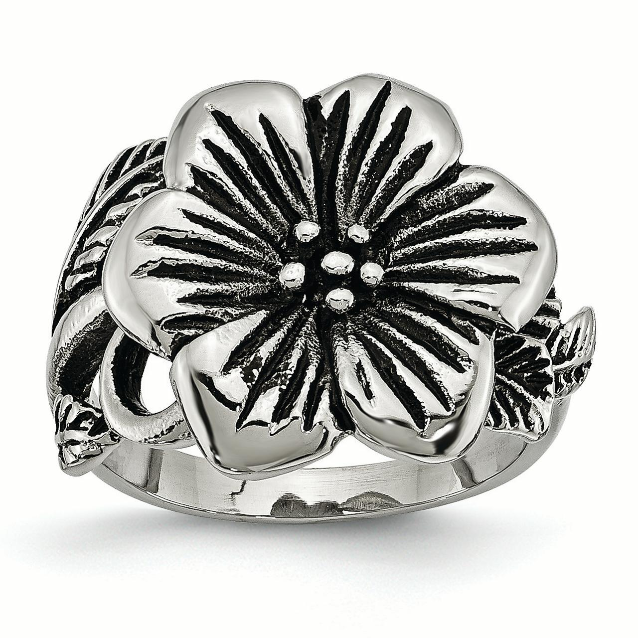 Stainless Steel Antique Finish Flower Band Ring Size 6.00 Flowers/leaf Fashion Jewelry Gifts For Women For Her - image 6 de 6