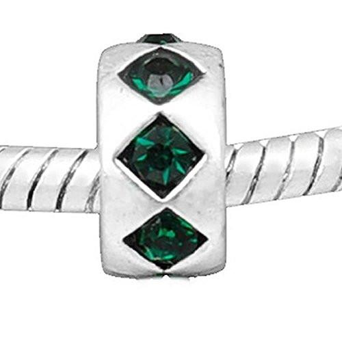 Emerald Green  Rhinestones Rondelle Charm European Bead Compatible for Most European Snake Chain Bracelet