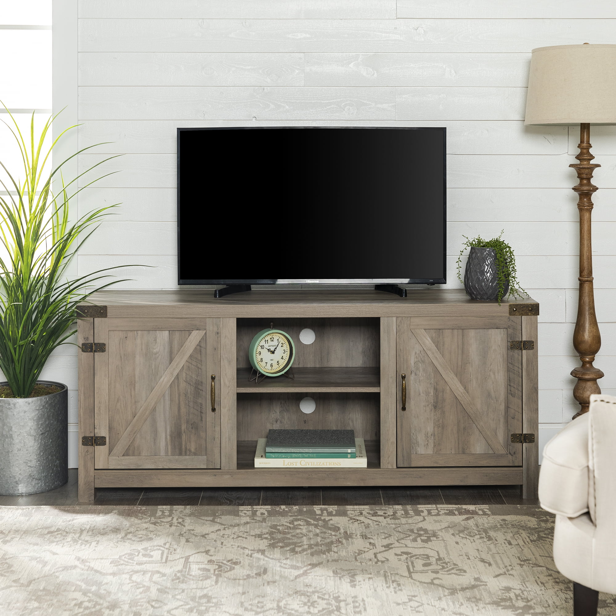 """TV Stand Large Entertainment Center LED TV Up to 64/"""" Sliding Barn Doors 58 Inch"""