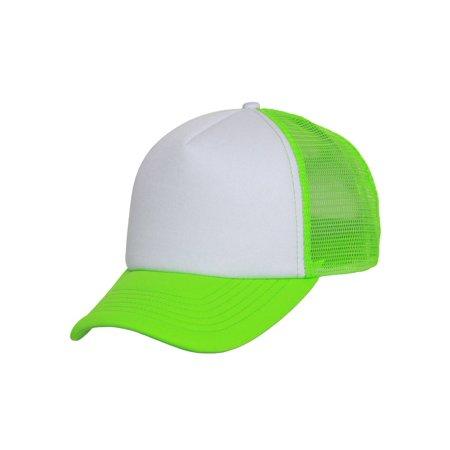 604aca96f Structured Neon Trucker Mesh Hat- White/ Neon Pink