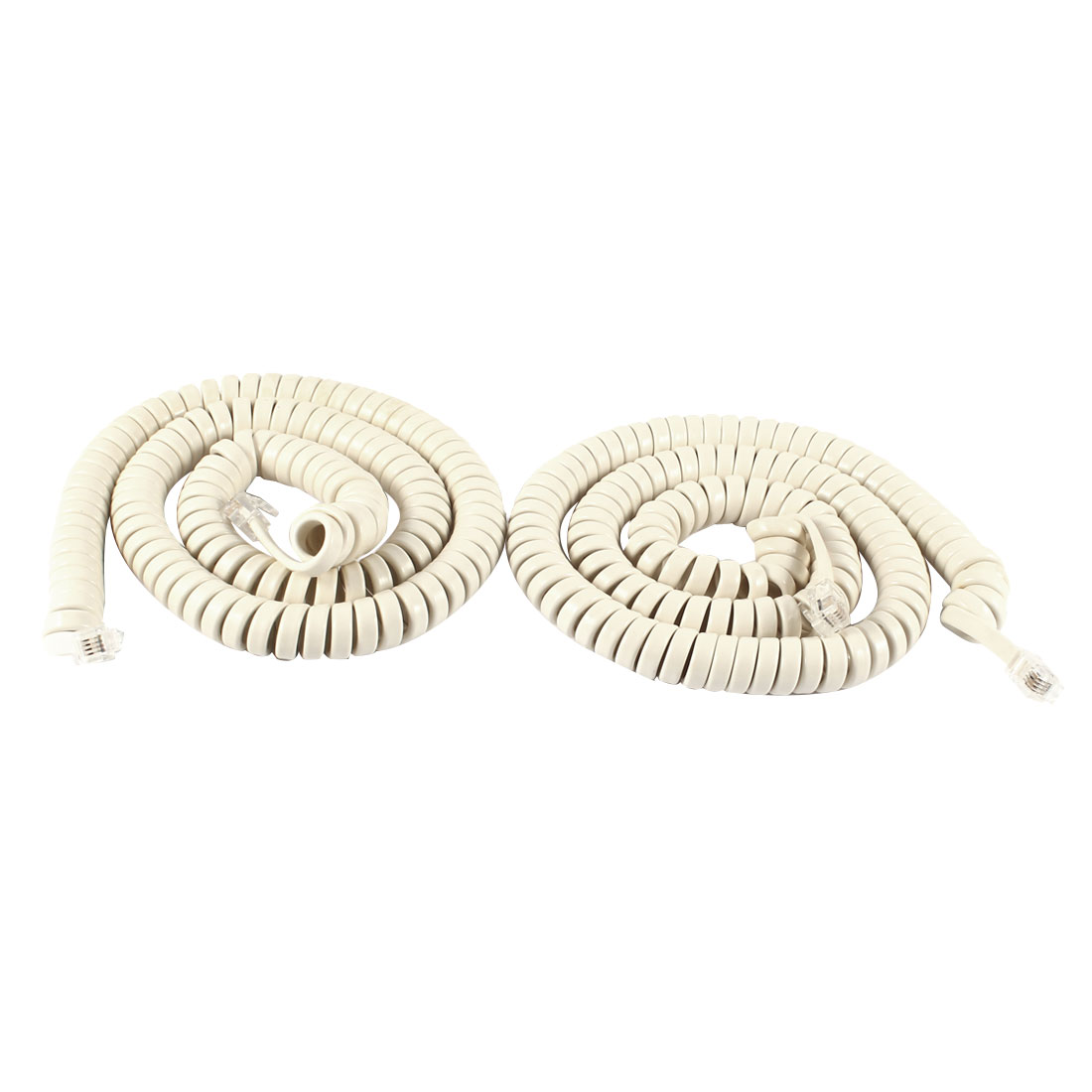 5M RJ9 4P4C Coiled Stretchy Telephone Handsets Cable Line White