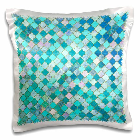 3dRose Luxury Fresh Green and Blue Moroccan Arabic Quatrefoil Tile Pattern - Pillow Case, 16 by 16-inch (Blue Tire Lights)