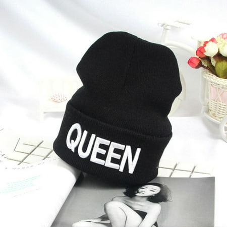 Mancro Warm Skullies Beanies Knit KING QUEEN Hat Skullies Bonnet Hats For Men Women](Bonnets For Sale)