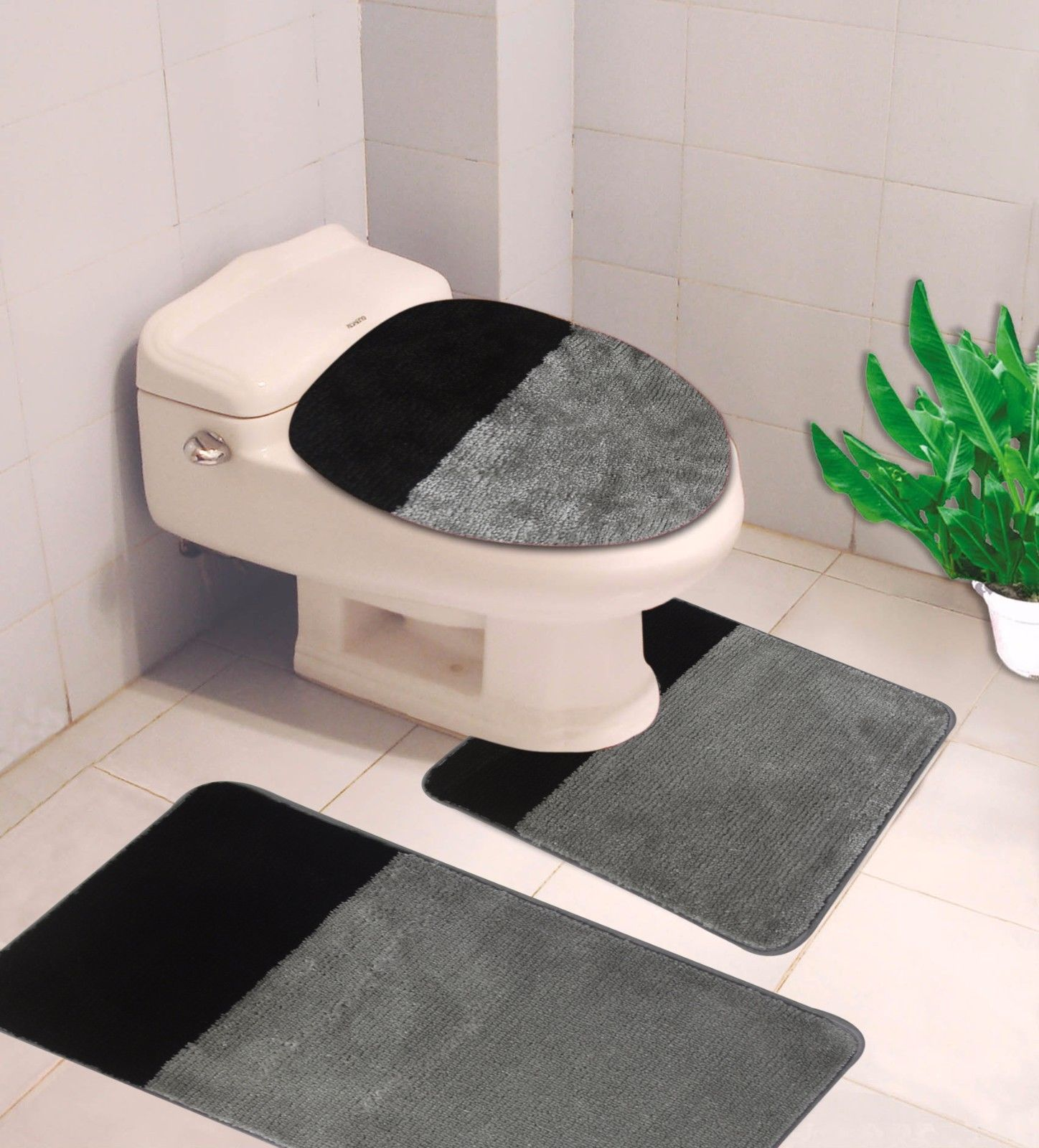 """3-PC (#7) 2 Tone Silver/Black  HIGH QUALITY Jacquard Bathroom Bath Rug Set Washable Anti Slip Rug 18""""x28"""", Contour Mat 18""""x18"""" and Toilet Seat Lid Cover 18""""x19"""" with Non-Skid Rubber Back"""
