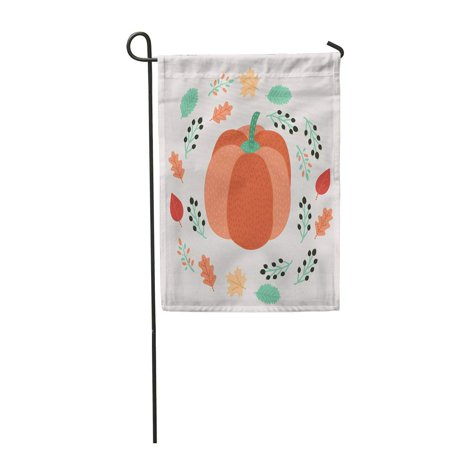 SIDONKU Cartoon Autumn of Pumpkin Decorated Red and Green Leaves Garden Flag Decorative Flag House Banner 12x18 inch (Decorated Pumpkins)