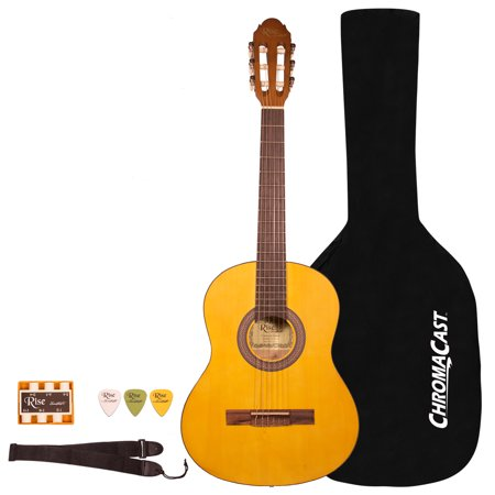 Rise by Sawtooth Beginner\'s 3/4 Size Acoustic Guitar with Bag and Accessories, Satin Gold Stain