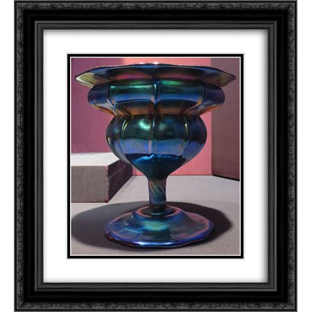 Louis Comfort Tiffany 2x Matted 20x24 Black Ornate Framed Art Print 'Compote, purple to blue iridescent glass ' ()