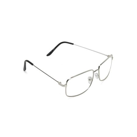 The One Who Knocks Clear Rectangular Aviator Lens Glasses, Silver