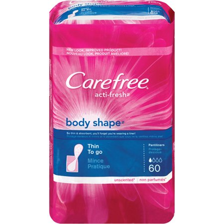 Thin Pantiliners - CAREFREE Acti-Fresh Body Shape Thin To Go Pantiliners, Unscented 60 ea