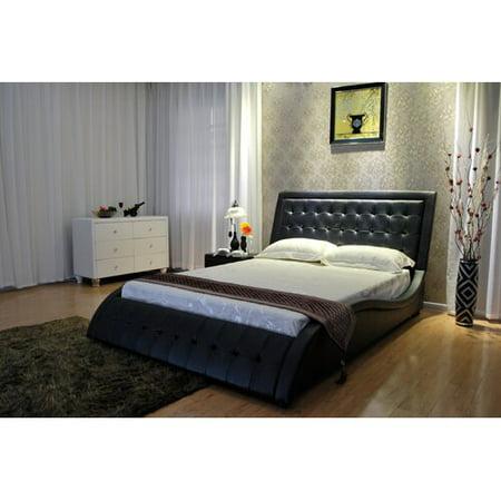 Greatime B1136-2 Wave-like Shape Upholstered Modern Platform Bed, Queen, (Brown Upholstered Platform Bed)