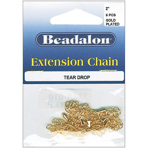 "Beadalon Extension Teardrop Chain 2"", 6-Pack"