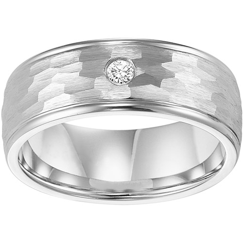 Men's Diamond Accent Hammered Ring in Cobalt