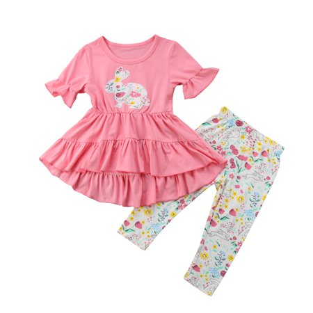 2PCS Easter Kids Baby Girls Outfits Clothes Ruffle T-shirt Tops Dress+Floral Pants Leggings Set 1-2 Years](Easter Chick Baby Outfit)