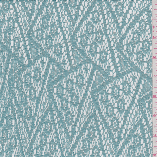 Aqua Green Crochet Lace, Fabric By the Yard