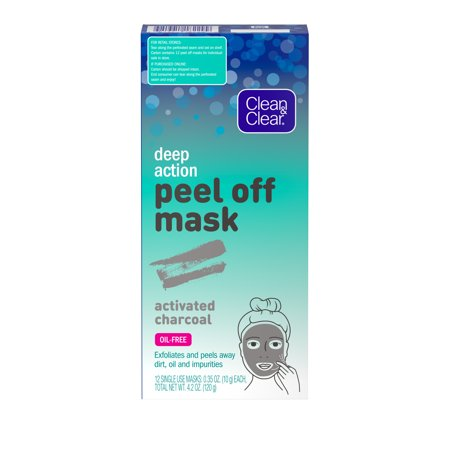 Clean & Clear Deep Action Peel Off Face Mask with Charcoal, 12