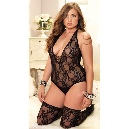 34faa525c80 Leg Avenue - Women s Plus Size Sexy Stretch Lace Teddy and Thigh High  Stocking 2 Piece Set - Walmart.com