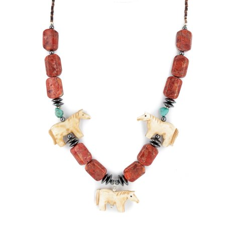 Natural Sponge Coral Necklace - Certified Authentic Horse Navajo .925 Sterling Silver Natural Turquoise Sponge Coral Hematite Bone Native American Necklace
