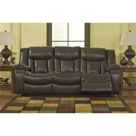 Ashley carnell faux leather reclining sofa in brown for Ashley brown sofa chaise
