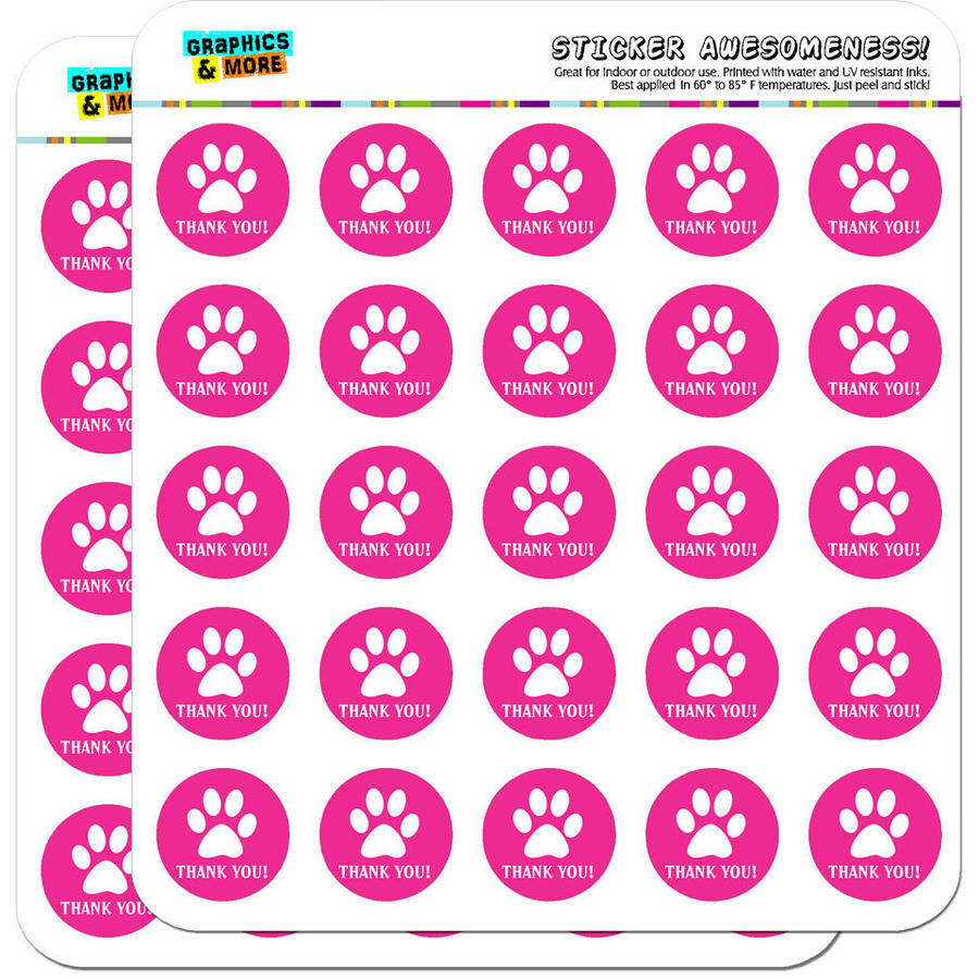 Thank you paw print pink birthday baby girl 50 1 planner calendar scrapbooking crafting stickers