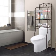 Lowestbest 3-Tier Bathroom Organizer Over The Toilet, Decor Holder and Towel Rack, Bathroom Space Saver Shelving Stand Storage Tower, Brown