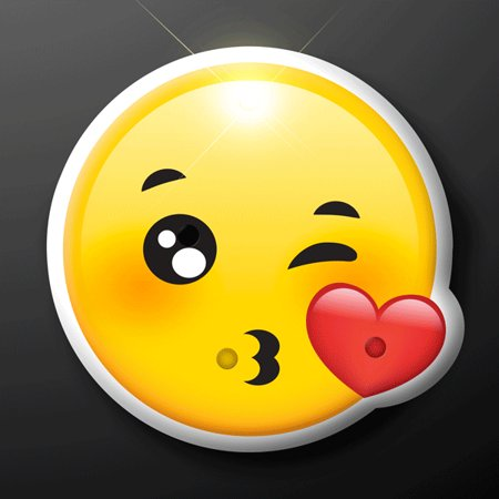Kissy Face Emoji Light Up LED Party Pin by Blinkee - Pin Up Lights