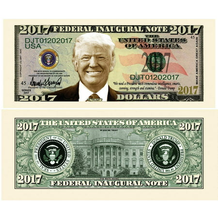 """25 Donald Trump 2017 Federal Inaugural Presidential Dollar Bills Limited Edition with Bonus """"Thanks a Million"""" Gift Card - Outdoor Limited Coupon"""