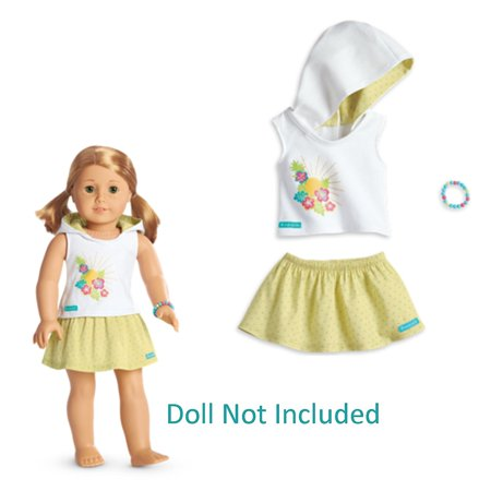 Summer Hoodie Set for Dolls Fun Fashionable Stylish, A soft skirt with a green pin-dot print By American Girl Ship from