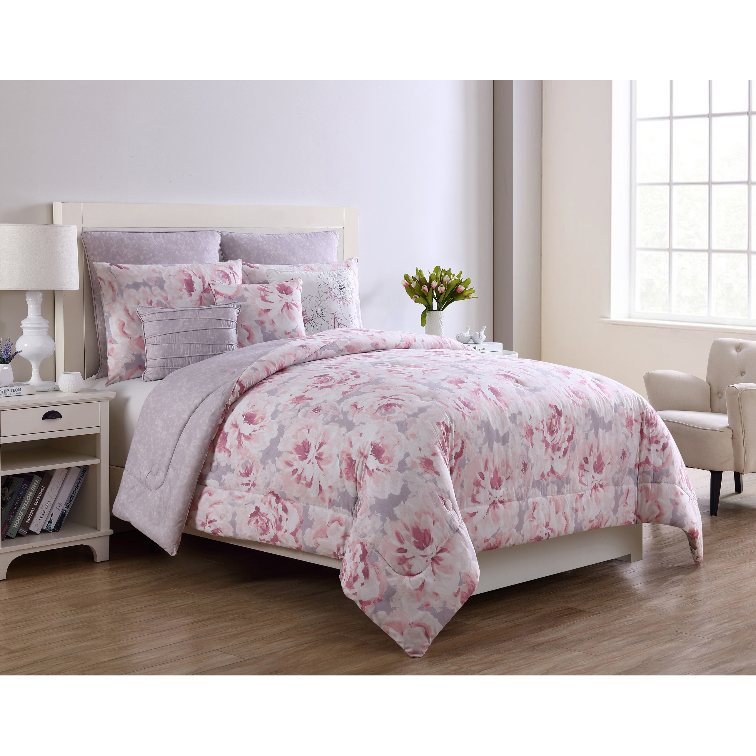 Mainstays Grey/Pink Floral Jill 8-Piece Bedding Comforter Set with Euro Shams and Decorative Pillows