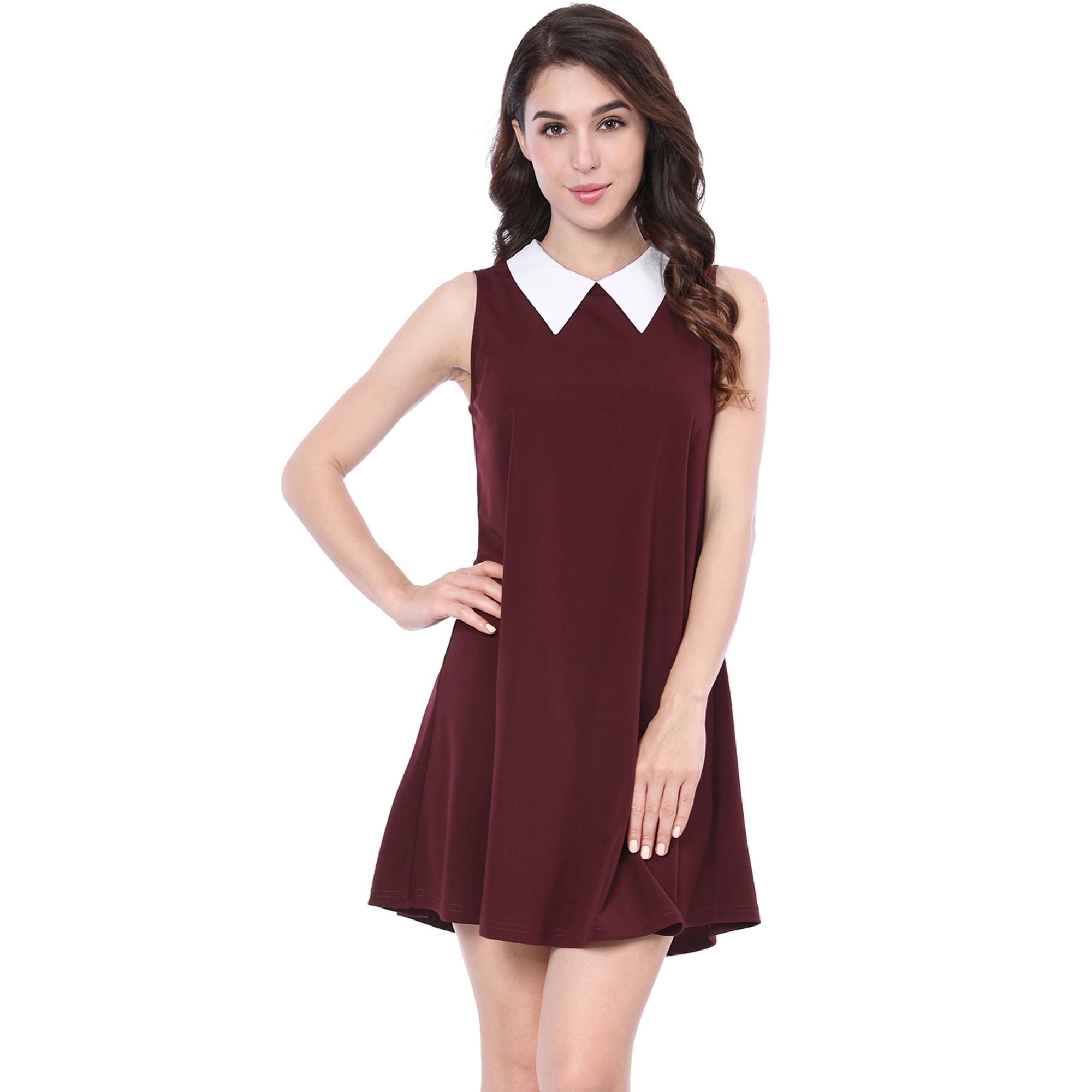 573c95d9997ed Unique Bargains Women s Peter Pan Sleeveless Above Knee Swing Dress Red  (Size XS   2)