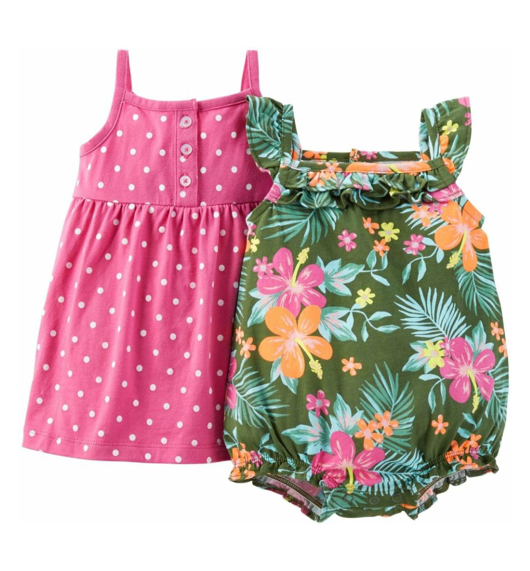 f8be597ea70e Carter s Baby Girls Polka Dot Dress   Tropical Romper Set with ...