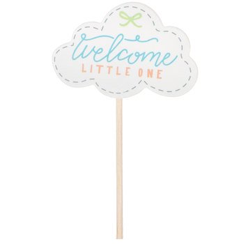 Cloud Welcome Little One Cupcake Toppers Baby Shower Party Supplies Keepsake 24 Ct (Cloud Party)
