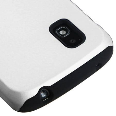 Insten Fusion Aluminum Dual Layer Silicone Cover Case For LG Google Nexus 4 - White/Black - image 1 de 3