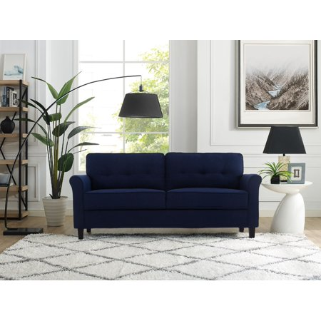 Lifestyle Solutions Hactor Sofa with Upholstered Microfiber Fabric Rolled Arms, Navy Plush Microfiber Sofa