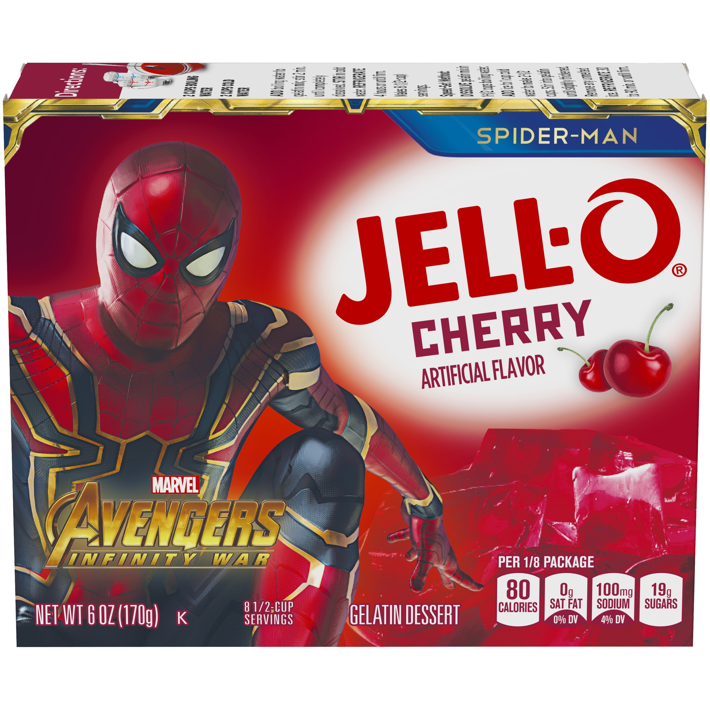 (3 Pack) Jell-O Cherry Instant Powdered Gelatin Dessert, 6 oz Box