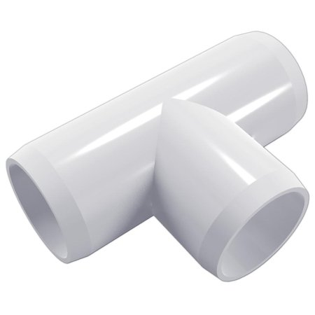 "Tee PVC Fitting, Furniture Grade, 1/2"" Size, White (Pack of"