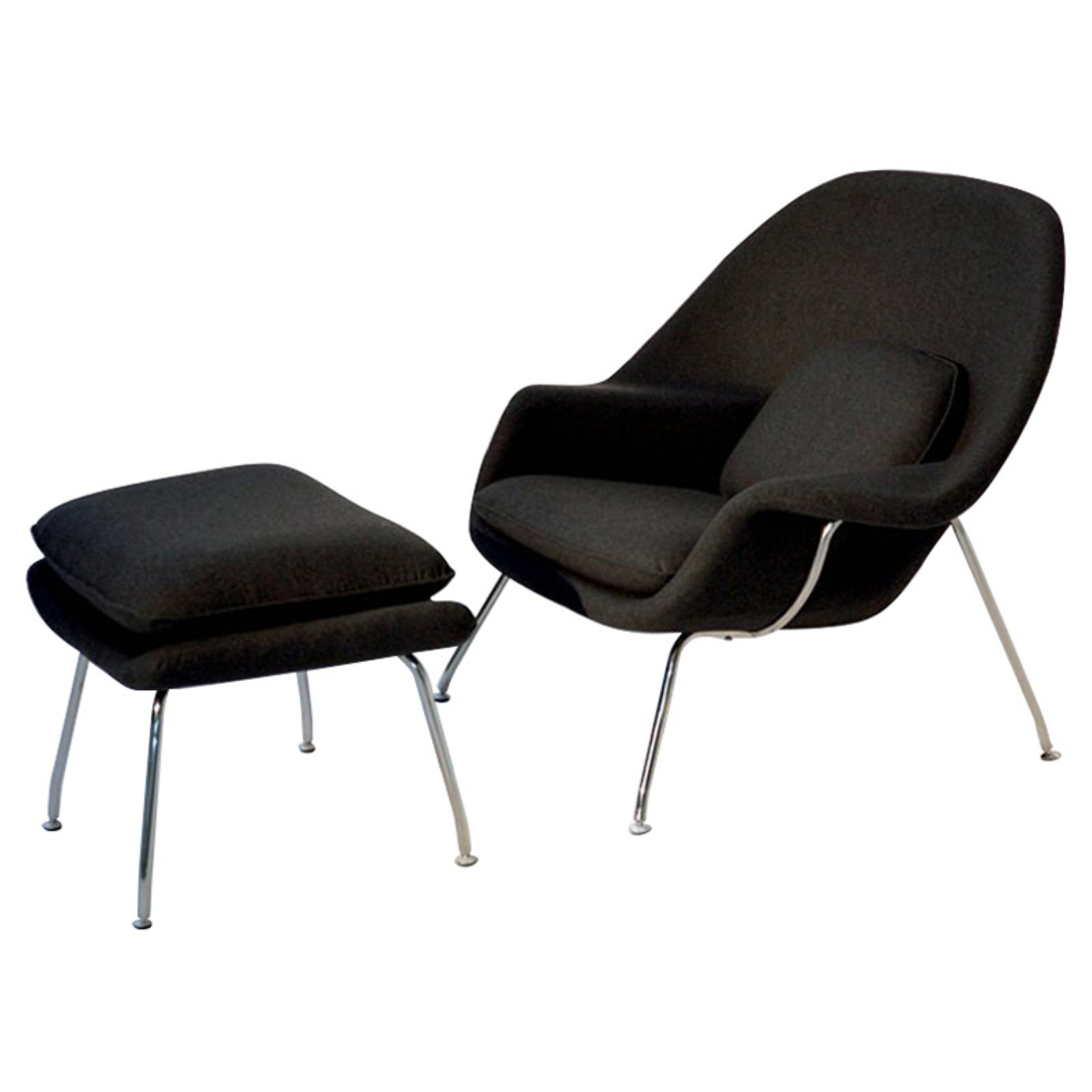 Fine Mod Imports Woom Chair & Ottoman in Black