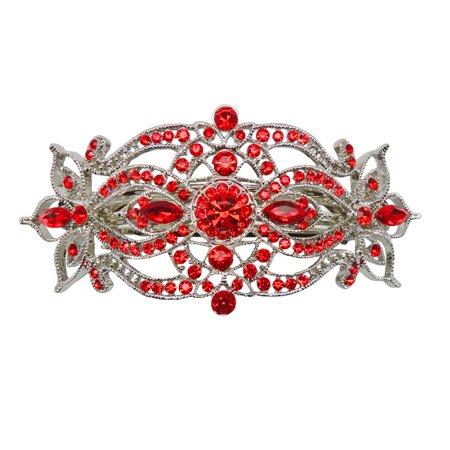 Faship Gorgeous Red Rhinestone Crystal Big Floral Hair Barrette - Red