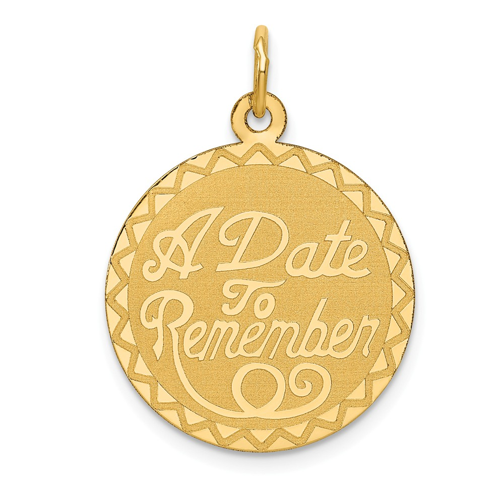 14k Yellow Gold Engravable A Date to Remember Pendant
