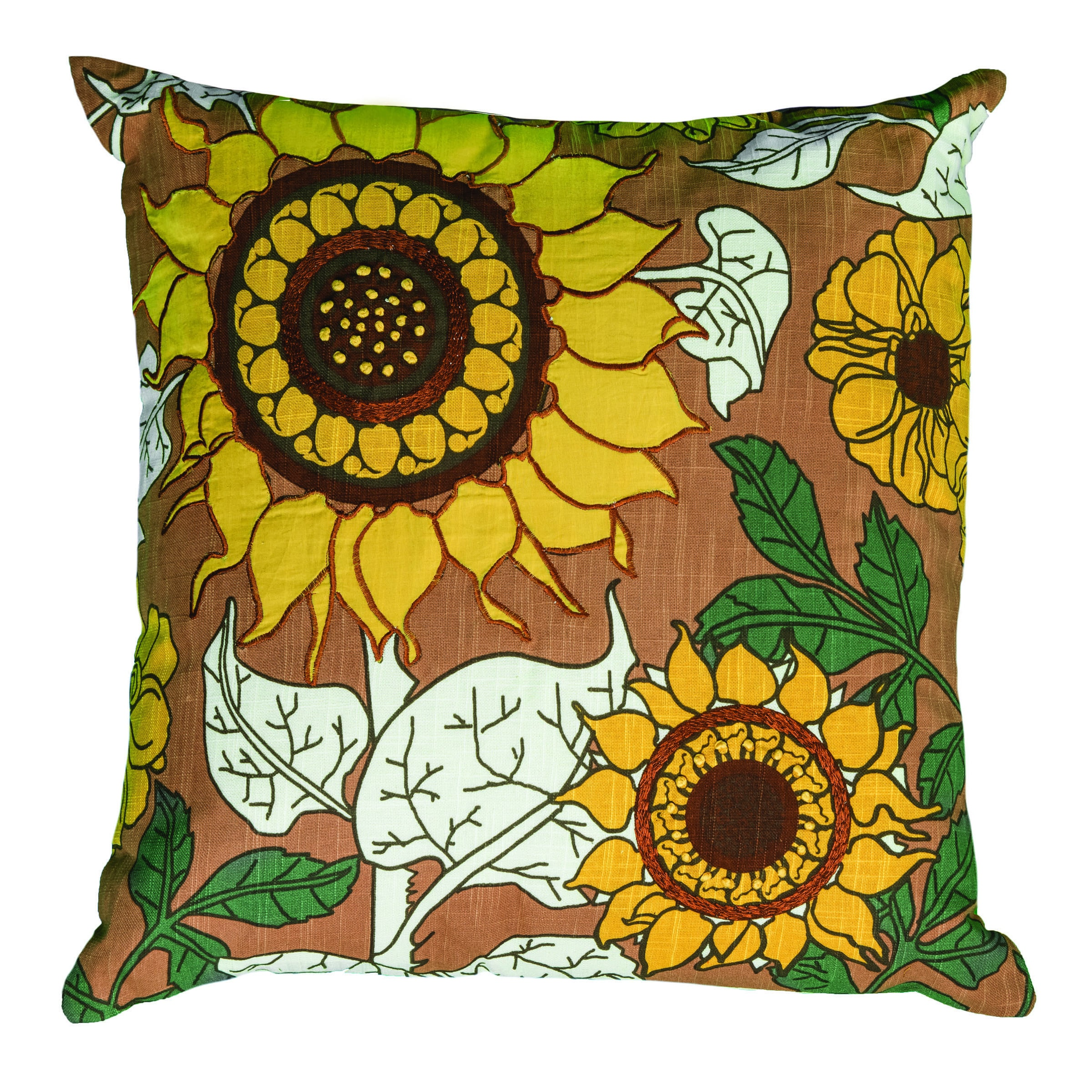 "Rizzy Home Decorative Poly Filled Throw Pillow Sunflowers 20""X20"" Yellow"