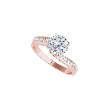 Rose Gold Vermeil Ring (CZ Elegant Semi Swirl Engagement Ring Rose Gold Vermeil )
