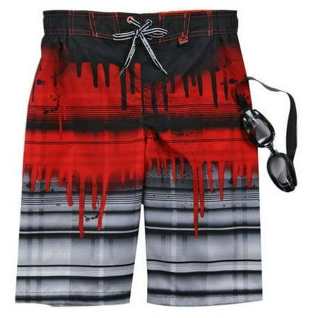 Zero Xposur Boys Red & Black Stripe Swim Trunks Board Shorts & Goggles