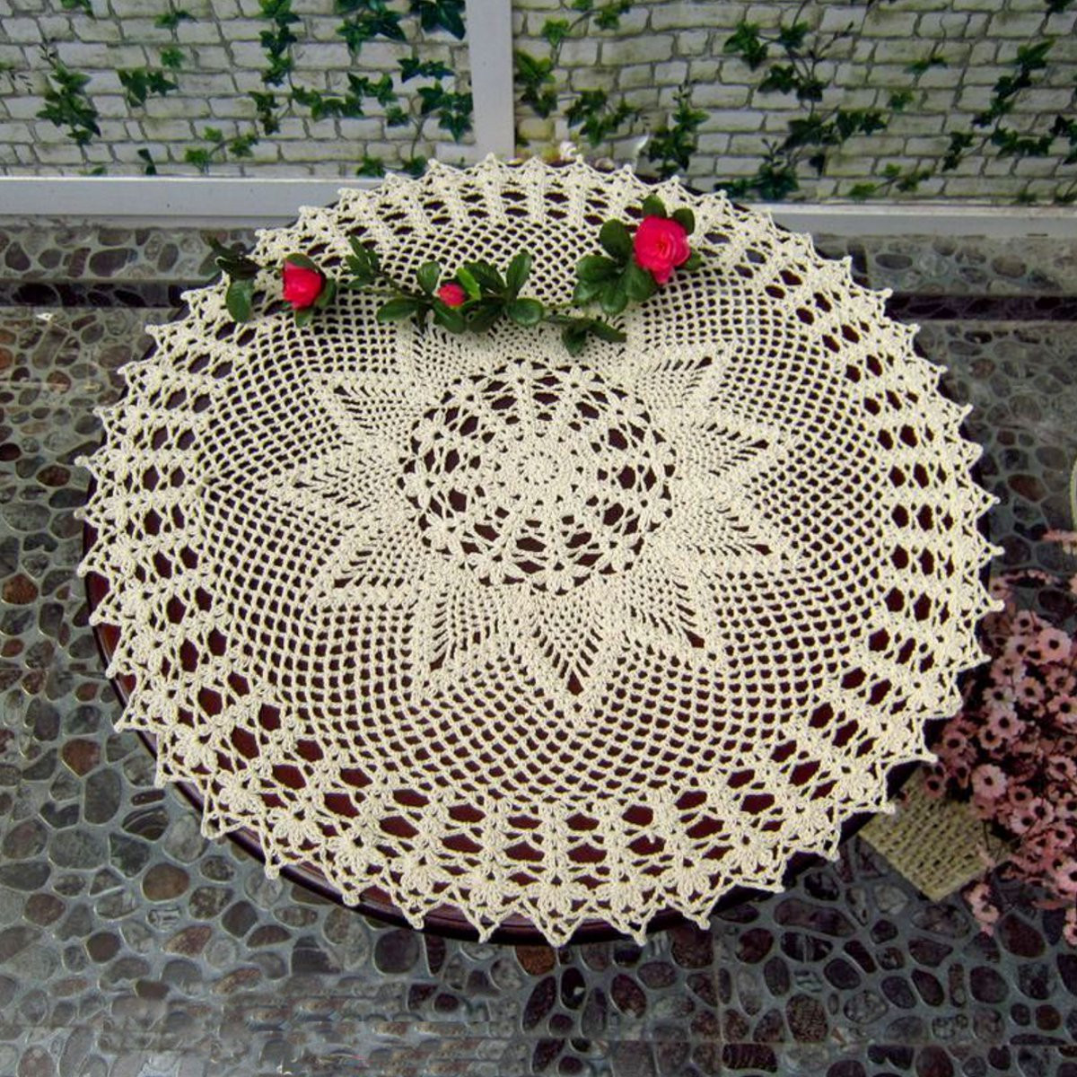 Meigar 20'' Handmade Crochet Doilies Lace Flower Tablecloth Cotton Sofa Doily Placemats Table Cover Mat Coasters Home Decor,Round