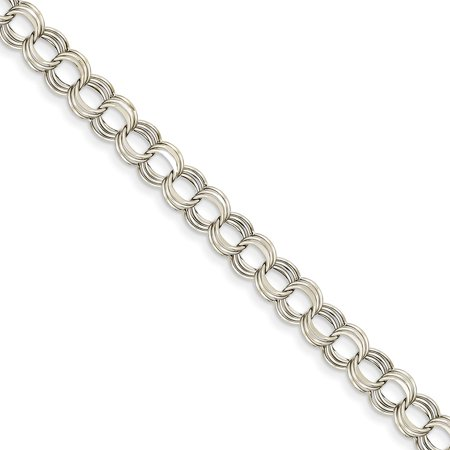 14k White Gold Lite 7mm Triple Charm Bracelet - Lobster Claw - Length: 7.25 to (White Gold Claw)