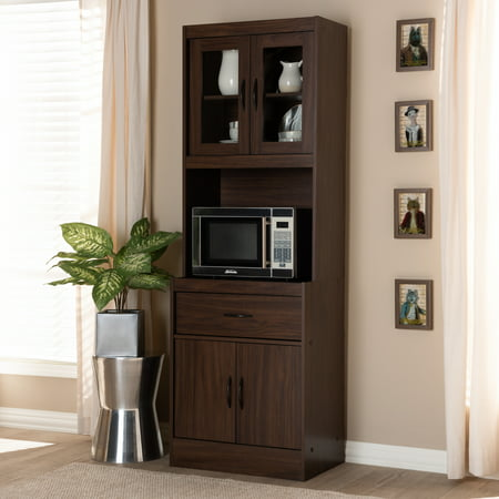 Baxton Studio Laurana Modern and Contemporary Dark Walnut Finished Kitchen Cabinet and Hutch ()