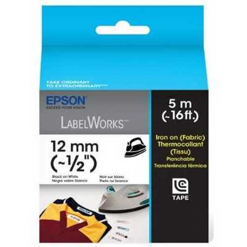 "Epson LabelWorks Iron-On Fabric LC Tape Cartridge, 1/2"", Black on White"