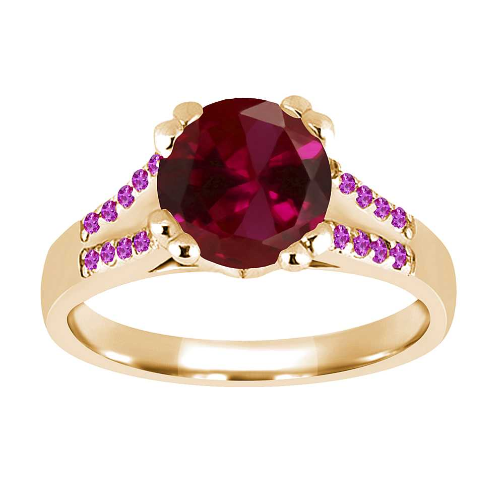 1.20 Ct Round Red Created Ruby Pink Sapphire 18K Yellow Gold Ring by